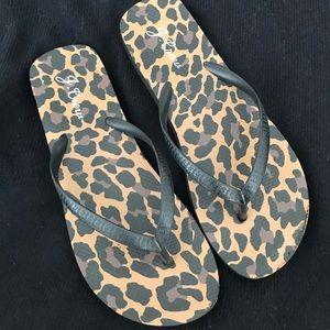 J Crew Leopard flip-flops